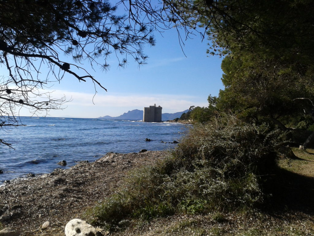 Île Saint-Honorat shoreline & monastery