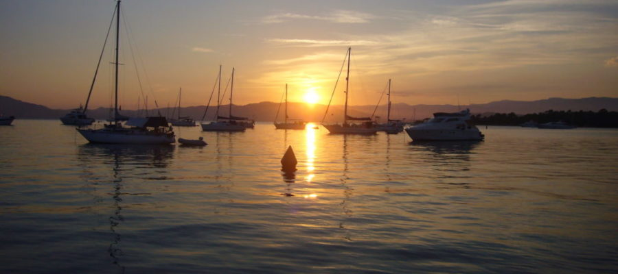 Sun setting over Bay of Cannes